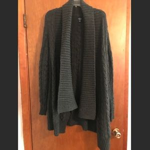 AEO open front cable knit grey sweater